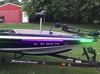 Green Blob Outdoors Night UV Fishing Lights Pimp My Fishin Boat Complete Kit Ultra Violet Black Light Strips Waterproof for Bass Boat Rub Rails,Pontoon with Red & Green LED Navigation Light Strips
