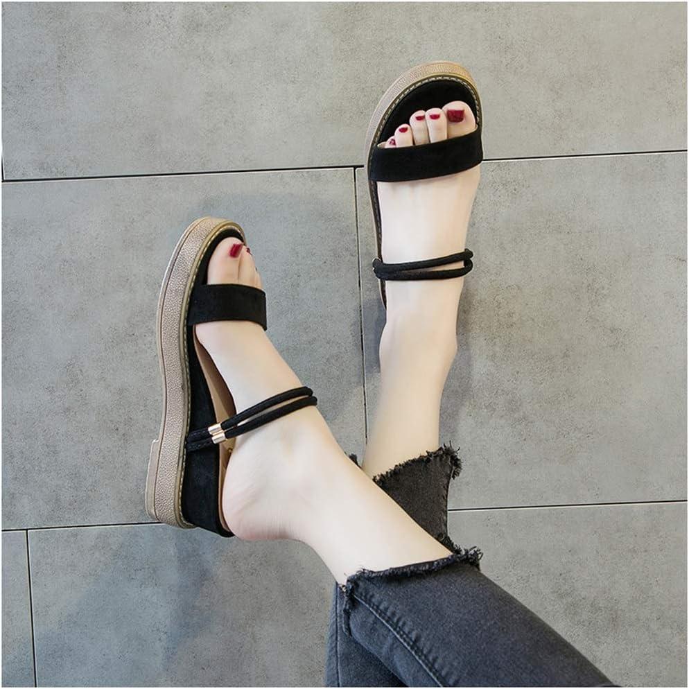 Zholyanbinx damessandalen, een paar schoenen, dikke zool, mode, wild, dragen, vakantie, comfort, waterdicht platform, eenregels, strandschoenen, alledaagse zomerssandalen en pantoffels zwart