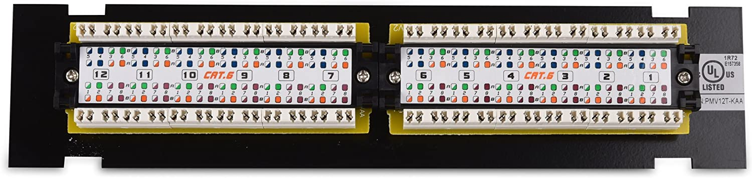 Cable Matters UL Listed Mini 12-Port Vertical Patch Panel with 89D Bracket