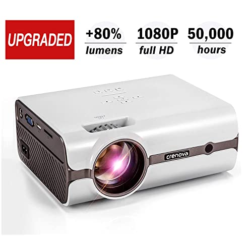 Crenova XPE496 Upgraded Projector (+80% Lumens) – 1080P Supported HD Home Projector