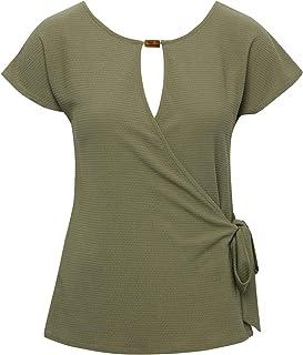 9e11a4e09752e8 M&Co Ladies Keyhole Neck Wrap Top with Cap Sleeve Stretch Crepe Textured  Fabric