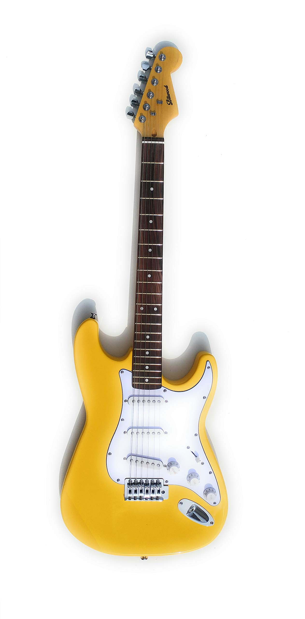 Cheap Bitwood Guitars Basic ST Electric Guitar 3 Pickups Rosewood Fingerboard Yellow Black Friday & Cyber Monday 2019