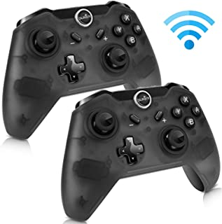 Sunjoyco Wireless Remote Controller Compatible with Nintendo Switch, Wireless Pro Controller Gaming Gamepad Joypad Compatible with Nintendo Switch Console, Gyro Axis Dual Shock (2-Pack Black)