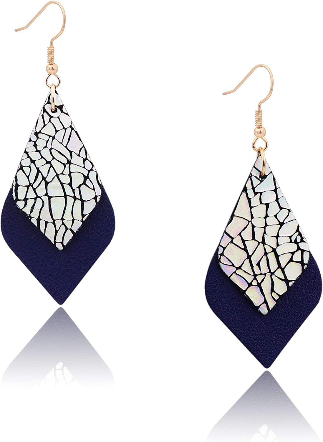 ZSMJYJ Popular shop is the lowest price Max 69% OFF challenge Gold Dangle Drop Leather Hypoallergenic Genuine Earrings
