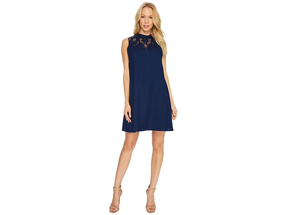 CeCe Ava Sleeveless Embroidered A-Line Dress (Midnight Bloom) Women