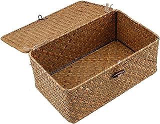 Boîte de Rangement Rotin, Bac de Rangement, Panier de rangement sur l'herbe d'herse herméque de l'herbe à armure à main à ...