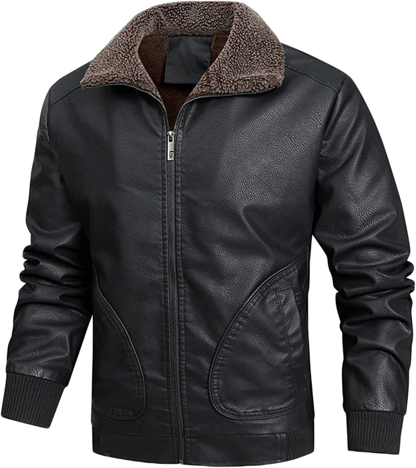Men's Casual Stand Collar Slim PU Leather Softshell Bomber Jacket Coat Outwear