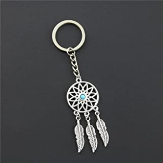 1 Pack Silver Feather Tassels Dream Catcher Keychain Gift Mini Arts Craft Rainbow Owl Feathers Hanging Nursery Bedding Room Imperial Popular Dreamcatchers Girls Bedroom Decor Car Wall Catchers Kit