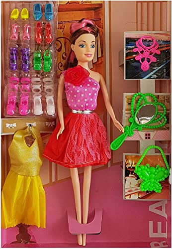 Shopme Store Fashion Doll Set And Accessories For Party Wear Modeling Girl Doll With Dresses And Doll With Dresses And Crown Premium Quality With 8 Pair Of Shoes Happy Girl Multicolor