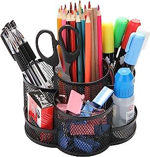 Porte-crayons bureau rotatif, Porte-stylo en métal pour le bureau avec tapis en caoutchouc antidérapant, rotation à 360 ° ...