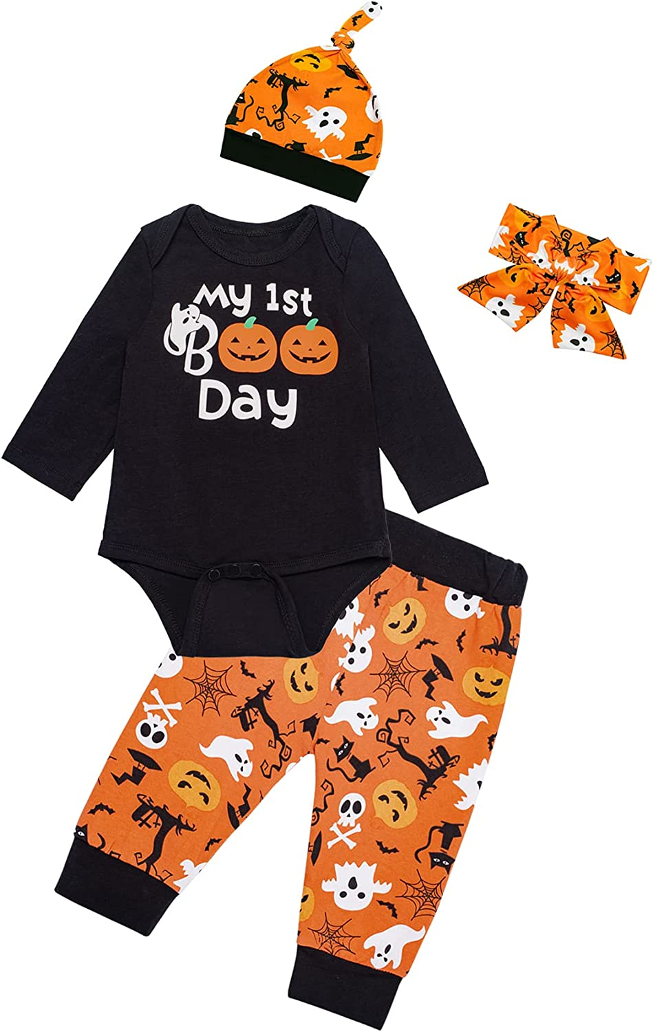 My 1ST Halloween Baby Boy Girls Pumpkin Outfit Set Funny Cute Hat with Headband