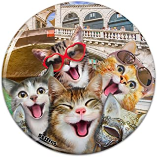 Venice Italy Cats Selfie Compact Pocket Purse Hand Cosmetic Makeup Mirror - 2.25