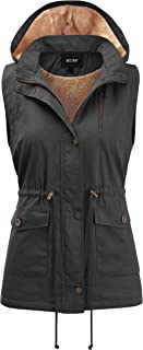 FASHION BOOMY Women's Safari Anorak Vest - Military Hooded Sleeveless Outerwear - Regular and Plus Sizes