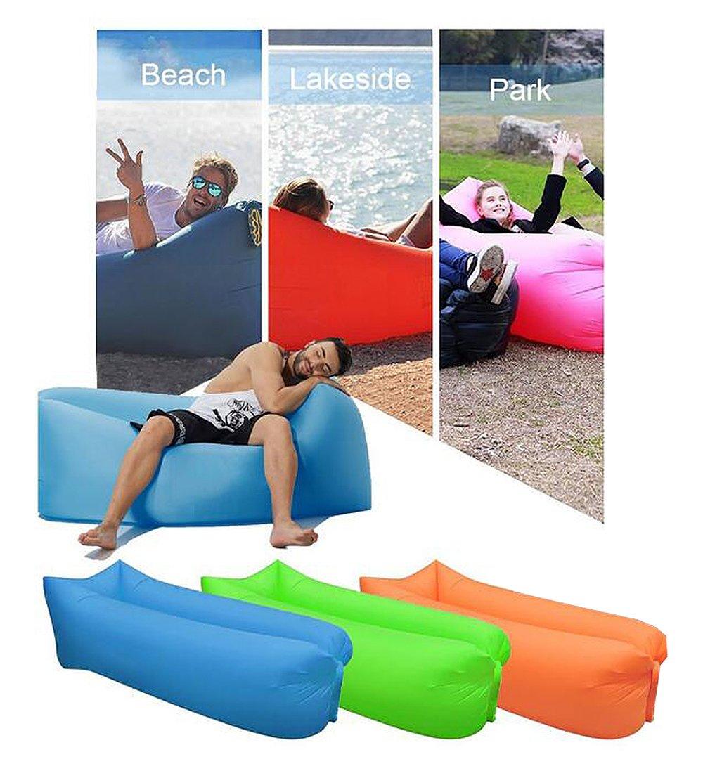 Tumbona saco de dormir, resistente al agua playa tumbona hinchable Air sofá sofá cama piscina flotador inflable para Camping ocio playa piscinas pesca, niños, refrigeración, partes, hombre, azul: Amazon.es: Deportes y aire