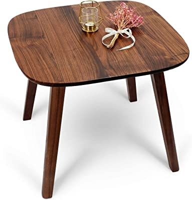 MAGIGO Square Solid Black Walnut Wood Side Table, Natural Wooden End Table, 24 Inches