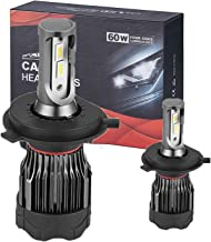 Car Motor Led Headlight Bulbs, H4 Led Headlights 9003 High/Low Bulb, 60W 12000LM Super Bright, 6500K Bright White, Halogen Replacement, All-in-one Conversion Kit (H4(9003))