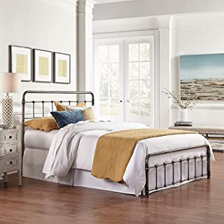 eLuxurySupply Metal Bed Frame - Vintage Style Weathered Nickel Finish Folding Bedframe - Easy Assembly with Headboard and Foot Board - Sturdy Steel Construction Bed Base - Queen Size