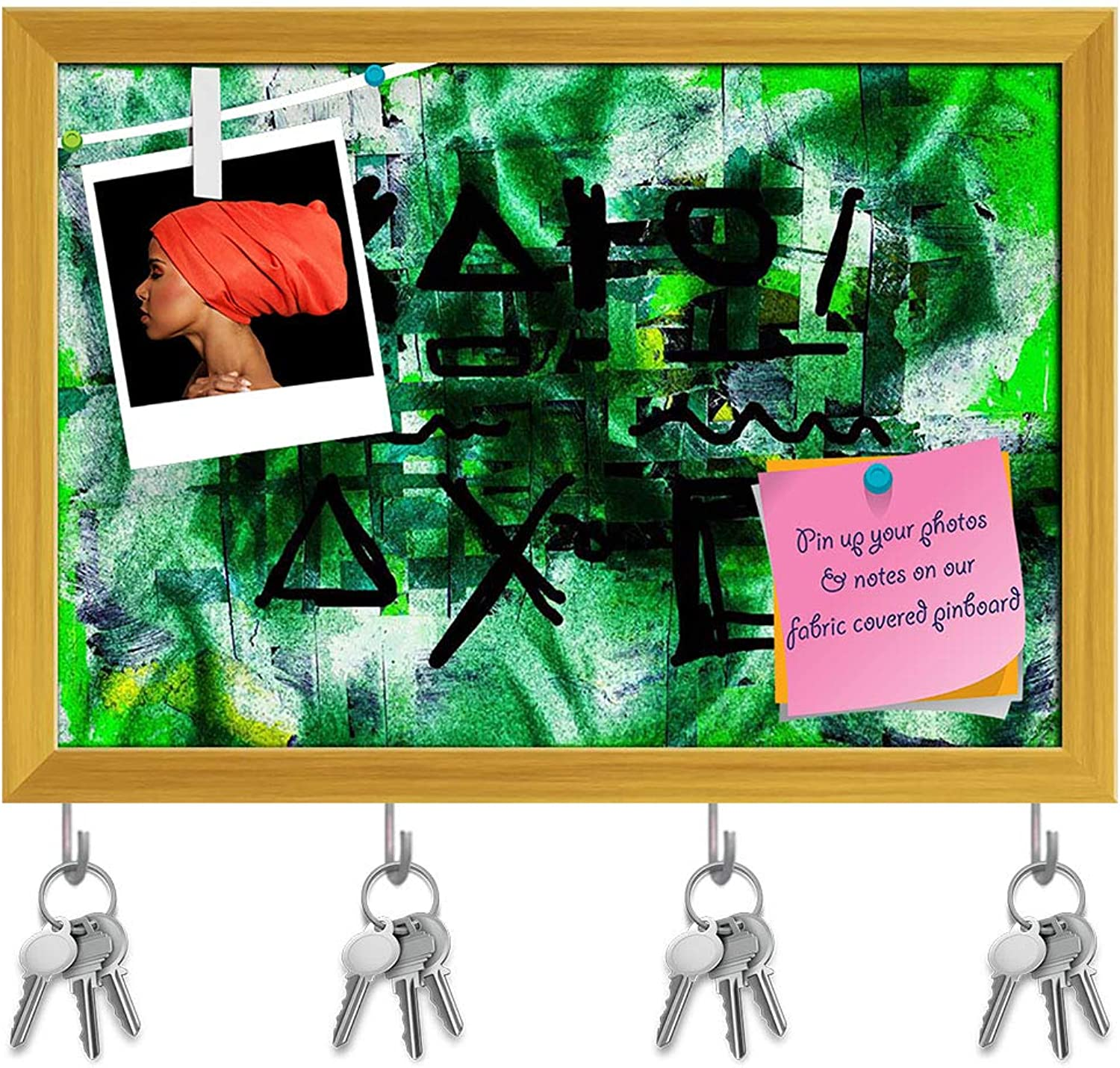 Artzfolio Abstract Grid D2 Key Holder Hooks   Notice Pin Board   golden Frame 14.3 X 10Inch