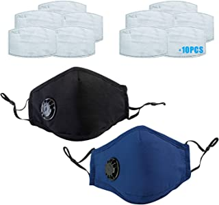 Romacci 2 Pcs Washable Mouth Cover with 14 Filters Dustproof with Breathing Valve Reusable Stop Fog Face protection(Black+Blue)