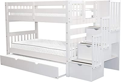 Bedz King Stairway Bunk Beds Twin over Twin with 3 Drawers in the Steps and a Twin Trundle, White