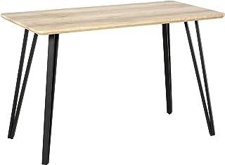 Table à manger design industriel grand plateau dim. 120L x 60l x 75H cm pieds métal noir en épingles MDF aspect chêne clair