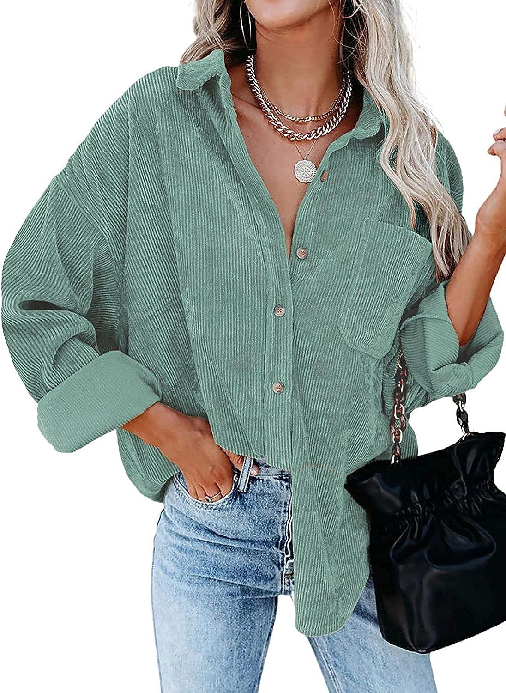 Meceku Women's Corduroy Shirt Long Sleeve Button Down Blouse Casual Oversized Jacket with Pocket
