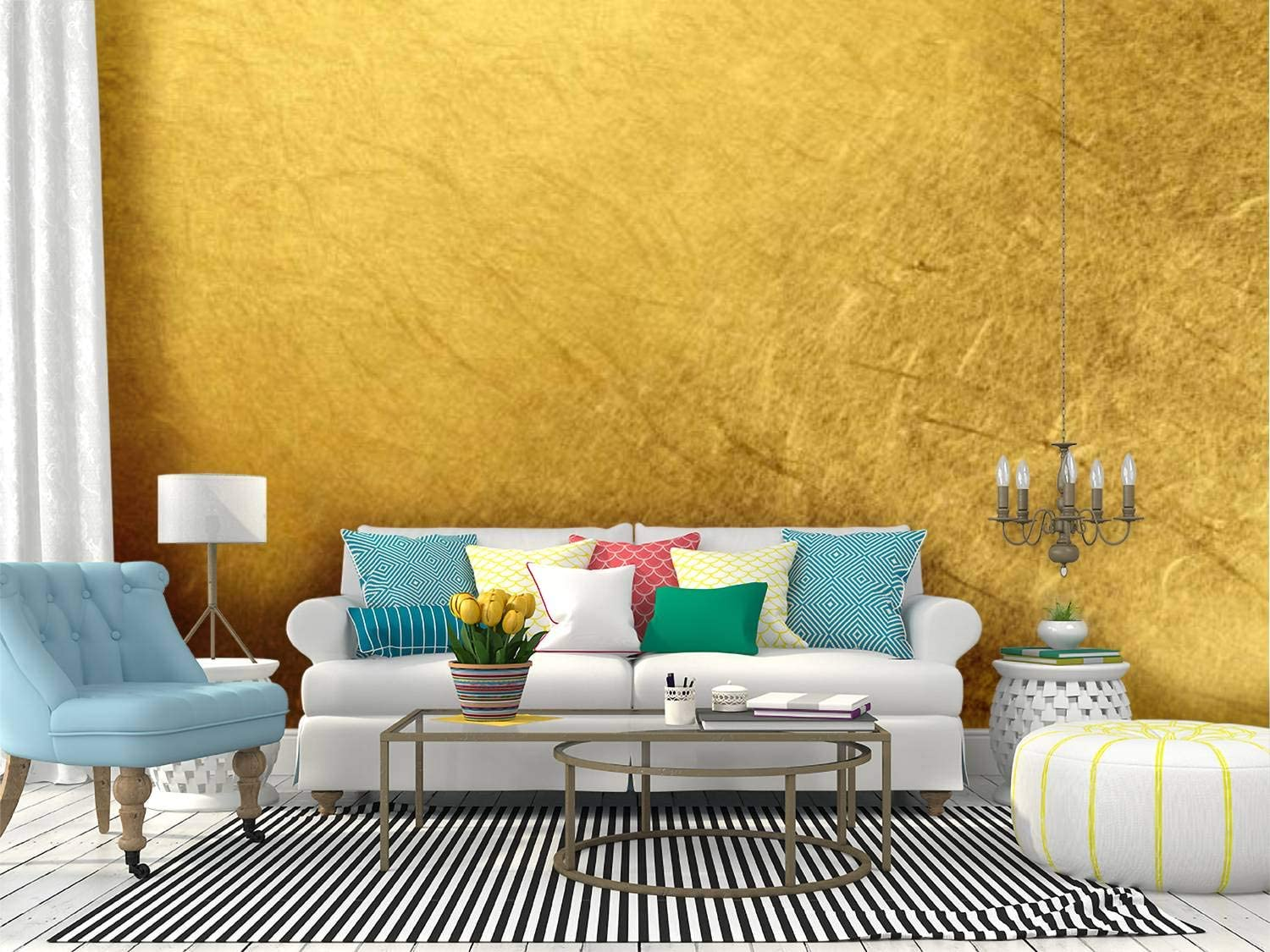 RECETHROWS Super sale period limited Wall Mural Golden Texture Peel and Mail order cheap W Stick Background