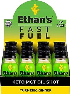 Ethan's Fast Fuel Turmeric Ginger, Keto MCT Oil Shot from Coconut Oil, Paleo Friendly, Organic, Vegan, Plant Based Diet, S...