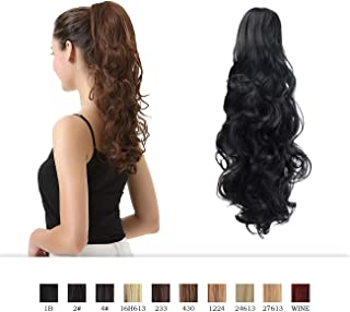 BARSDAR 19 inch Clip in Ponytail Hair Extensions Short Curly Synthetic Hair Piece for Women (1B_off Black)