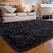 JOYFEEL Soft Fluffy Area Rugs Living Room Carpets for Nursery Decor Kids Room 5x8 Feet, Black