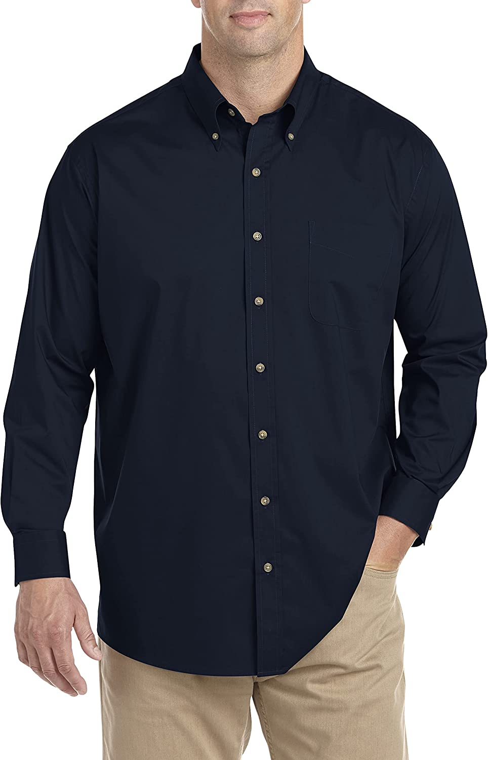 Harbor Bay by DXL Big and Tall Easy-Care Solid Sport Shirt, Mountain View Heather