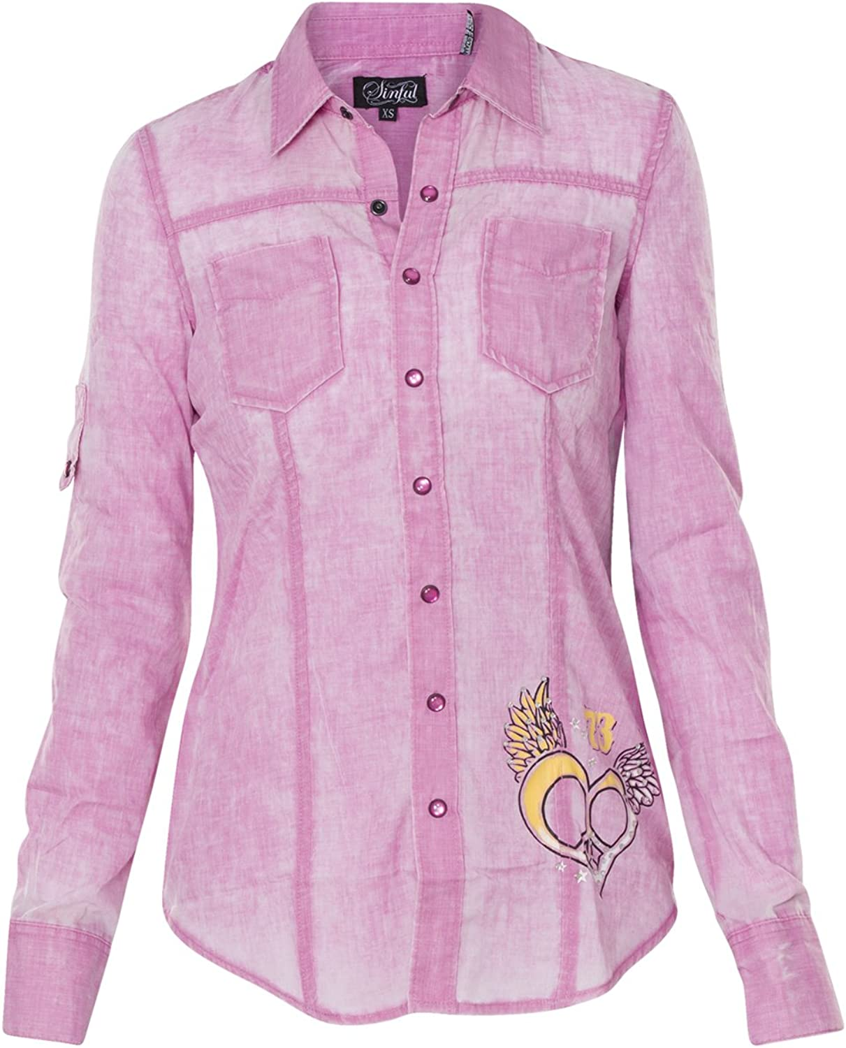 Sinful Maven Long Sleeve Fashion Woven Button Down Shirt By Affliction