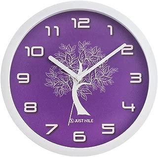 JustNile Silent Modern Creative White Frame Wall Clock - 10-inch Purple Clock Face W/ White Tree