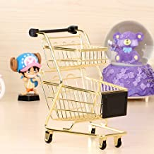 wgg Mini Metal Shopping Cart Supermarket Handcart Trolley, Table Office Novelty Decoration, Creative Storage Tools (Gold, Double-Deck)