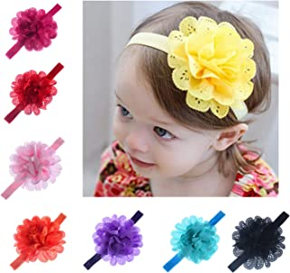 Nurbo Pack of 8 Baby Girl's Elastic Chiffon Hollow Out Flower Headband Photography Hair Bands Hair Clips