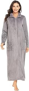Women's Flannel Robe Zipper Front Robes Full Length Bathrobe(S-XXL)