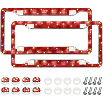 Black Anti-Theft Screws Caps Set Handcrafted 4 Rows Shiny Rhinestones Stainless Steel 2 Holes License Plate Frame with Gift Box Otostar Bling License Plate Frame