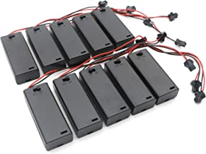 Senmod 10pcs 2xAAA Battery Holder Spring Clip with Wire Lead SM Connector Plug ON/Off Switch,Slide Cover