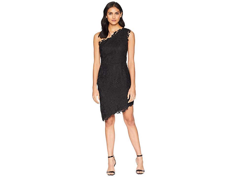 Adelyn Rae Marilyn Woven Lace One-Shoulder Sheath Dress (Black) Women