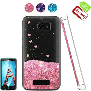 Coolpad Defiant Case, Coolpad 3632 Case with HD Screen Protector, Atump Luxury Girls Liquid Glitter Bling Soft TPU Cover with Sparkly Shiny Shockproof Protective Case for Coolpad 3632 Pink