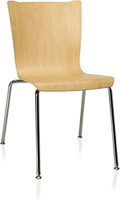"""KI Apply 4-Leg Chair, 20.25"""" x 25.25"""" x 32.5"""", Chrome/Kensington Maple"""