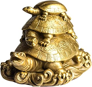 Copper Three Generation Turtles Collectible Figurines Handmade Statue Attract Wealth