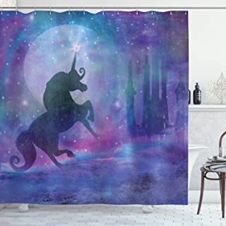 Fantasy Shower Curtain by Ambesonne, Magical Unicorn Silhouette Legendary Myth Creature with Stars Dream Print, Fabric Bathroom Decor Set with Hooks, 70 Inches, Violet Purple