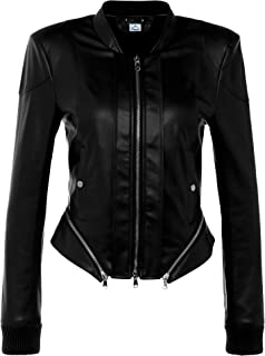 VearFit Fashion Designer Ally Women Real Leather Jacket Red and Black