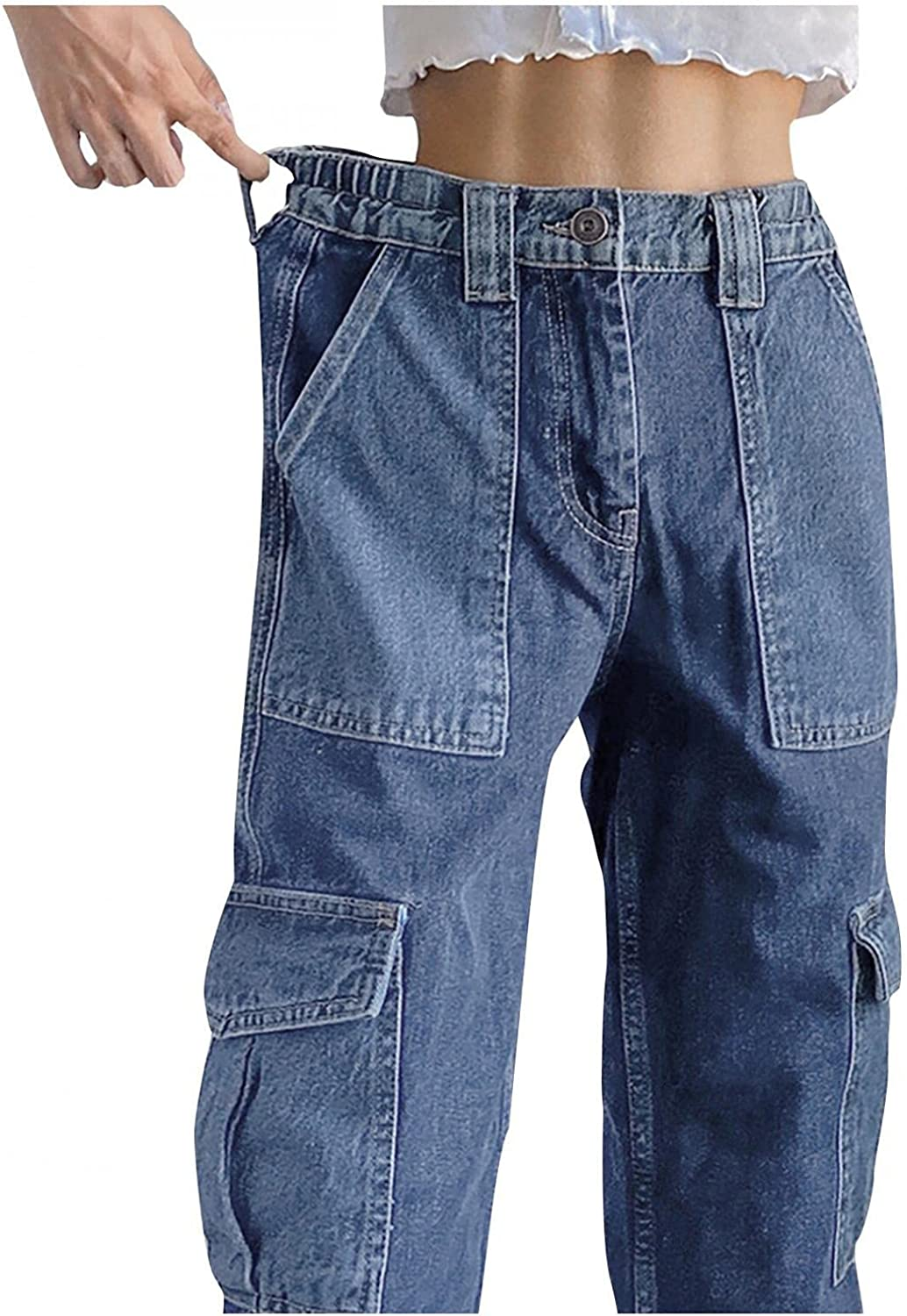 Dunacifa High Waisted Jeans for Women Distressed Baggy Boyfriends Jeans Butt Lifting Denim Pants with Pocket Streetwears