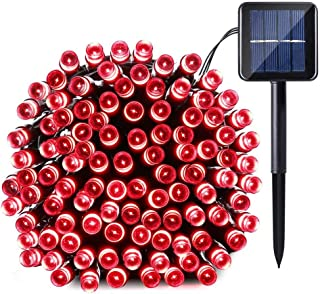 Joomer Solar Christmas Lights, 39ft 100 LED Waterproof Solar String Lights, 8 Modes Fairy Lights for Outdoor, Home, Christmas Tree, Garden, Wedding, Patio, Party, Holiday Decorations (Red)