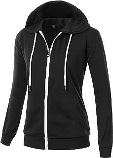 Womens Comfortable Long Sleeve Lightweight Zip-up Hoodie with Kanga Pocket(XS~4XL)