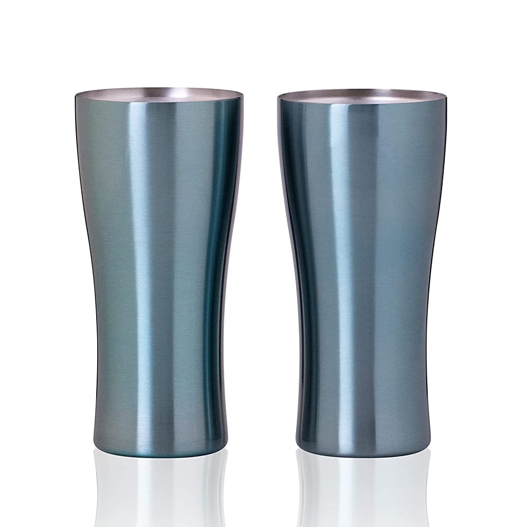 浴室ユーザーからかうAtlas(アトラス) 真空 断熱 2重構造 ダブル ステンレス タンブラー 420ml ブルー 2個セット AST-420BL 2P ファミリー ギフト