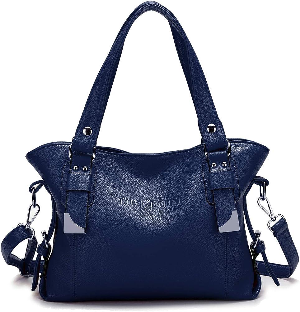 Love labini®, borsa per donna, a mano/tracolla, in pelle composita, blu sreoci3