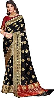 بلوزة ساري نسائية سوداء تقليدية هندية من نسيج الحرير الناعم بلون متباين 5799